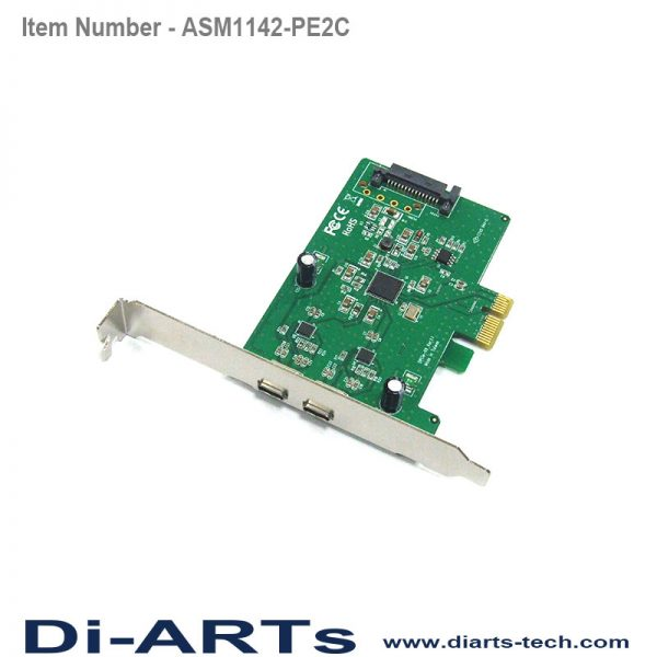 USB-C 2 port USB 3.1 Gen 2 10G PCIe card ASM1142-PE2C