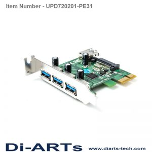 3 port USB-A 1 port Internal USB 3.0 PCIe Card UPD720201-PE31