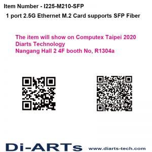 Diarts 1 port 2.5G SFP Fiber Embedded B M Key M.2 Card Intel I225 chipset