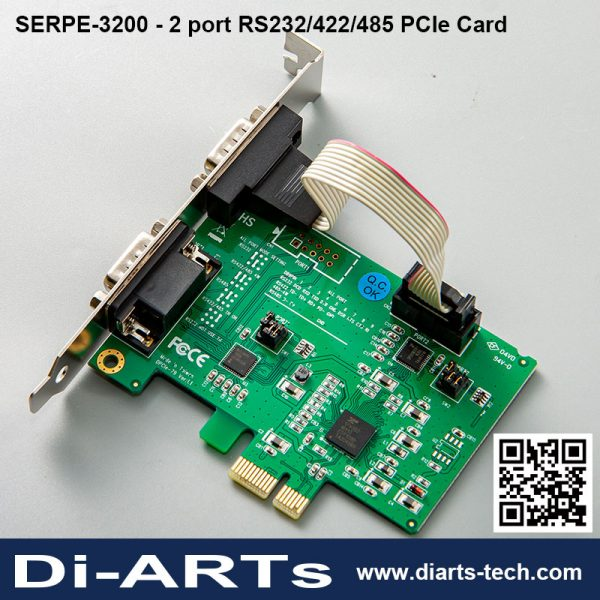 2 port RS232/422/485 PCIe Card SERPE-3200