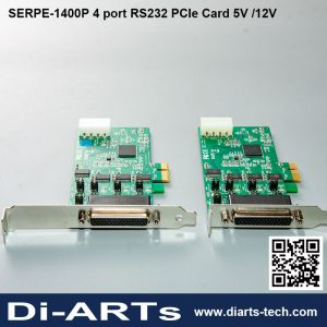 diarts serpe-1400P Industrial 4 port RS232 PCIe Card 5V 12V Power I/O Low Profile bracket