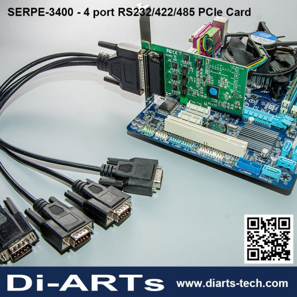 4 port RS232 RS422 RS485 PCIe card